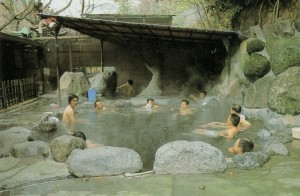 Outdoor bath in Tenzan around 1975.
