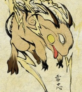 Raichu in  traditional Japanese style of art