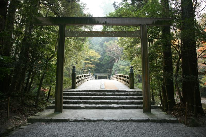The torii gate of the Ise Jingu Shrine.