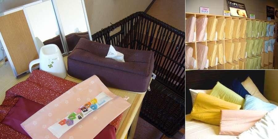 Various types of pillows and amenities for ladies.