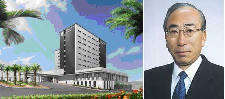 The image of new hotel and Mr. Saito, CEO.