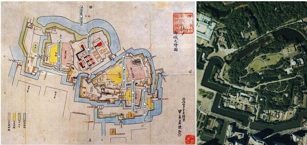 Old Drawing and Bird's-eye View of Imperial Palace.