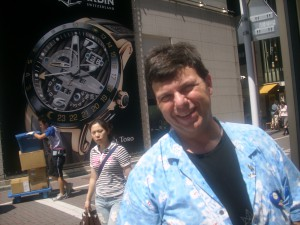 Dave-san, intereted in watches including Japanese ones, on one of the main streets in Ginza