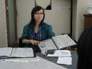 "Tomoko-san explaining her ""Artists Sheets"" to us  (photos: David Boyer www.bippy.com)"