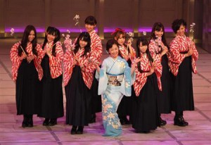 "Natsuko Godai(/伍代夏子), a popular enka singer with some AKB48 members as ""the supporting back dancers"""