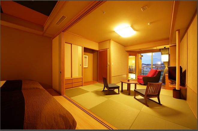 stylish modern japanese with open-air bath